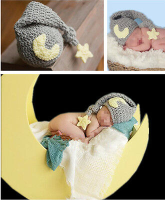 Newborn Baby Soft Crochet Knit Star & Moon Hat Photography Costume Photo Props
