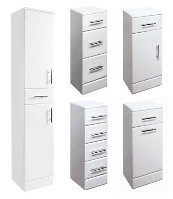 High Gloss White Bathroom Cloakroom Vanity Cabinet Cupboard Storage Furniture