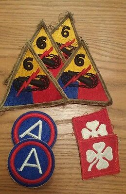 WW2 Military 4th 6th Army Insignia Patch Lot