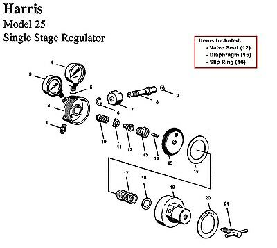 Harris Model 25 & 29 Regulator Rebuild/Repair Parts Kit w/ Diaphragm