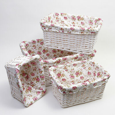 Set Of 4 Floral Lined White Wicker Storage Baskets Hamper Gifts Presents