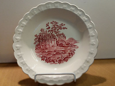1940s Taylor,Smith & T ENGLISH ABBEY RED TRANSFER: 4 SOUP/SERVE  BOWLS Antique