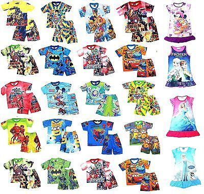 NEW Sz 2~8 KIDS SUMMER PYJAMAS BOYS OUTFITS TOP PJ PJS SLEEPWEAR NIGHTIE T-SHIRT