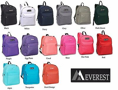 Everest Classic Basic Student Backpack Black Blue Grey Red Purple Navy