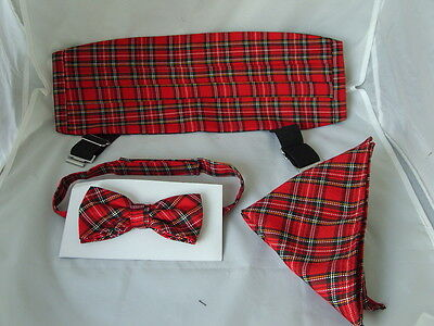 (7B)<DD> Tartan-Red-Red Bow Tie + Cummerbund and Hankie Set > P&P 2UK >1st Class