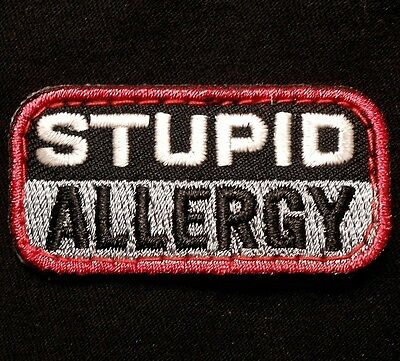 Stupid Allergy Combat Usa Army Morale Badge Swat Velcro® Brand Fastener Patch