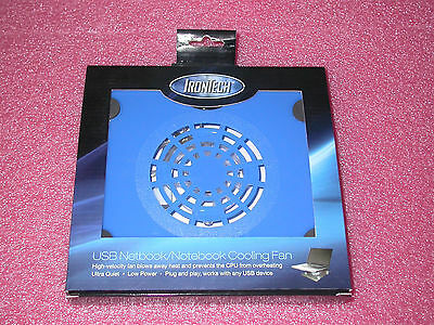 """IronTech IT-F1-BLU Supports Laptops from 8""""-15"""" USB Cooler Pad 60mm Fan (Blue)"""