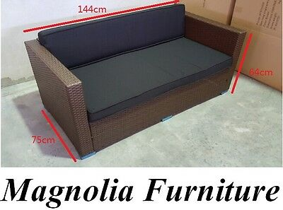 RATTAN FURNITURE OUTDOOR SOFA LOUNGE SET ALUMINIUM FRAME PE WICKER 2seater COUCH
