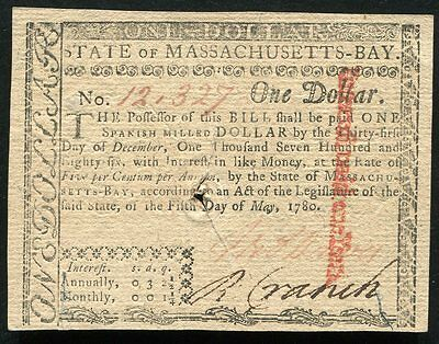 State Of Massachusetts-Bay May 5, 1780 $1 One Dollar Colonial Currency Note