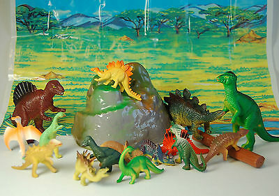 18 Piece Jumbo Dinosaur Playset Toy Animals Action Figures Set T Rex Triceratops
