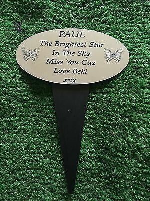 Engraved Memorial Plaque. Stake Personalised   Grave Funeral Memorial Sign 37