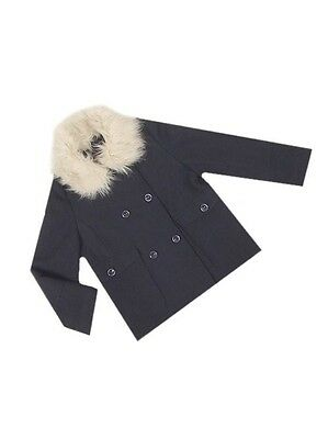 Girls Navy Double breasted twin pocket fur collar lined Coat Ages 3-4  5-6  7-8