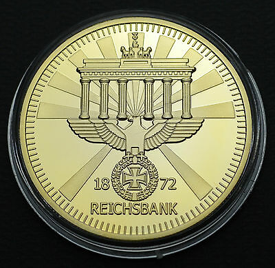 German Brandenburg Gate Iron Cross Empire Eagle 24K Gold Plated Coin