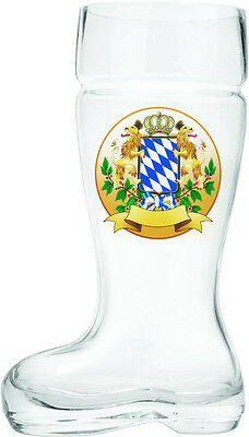 Hand Blown Glass Beer Boot with Bayern Coat of Arms