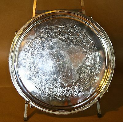 """1854-1869 Tiffany & Co. Sterling Silver Round Tray  12""""  Cushing Family"""