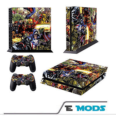 Marvel Superheros PS4 Playstation 4 Console Skin Vinyl + 2 controller stickers