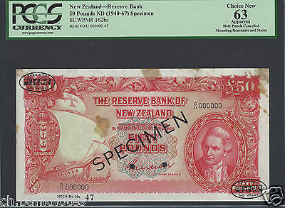 New Zealand 50 Pounds ND 1940-67 P162bs Specimen Choice Uncirculated