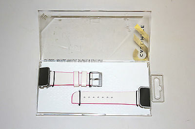 Case Mate Edged Leather Smartwatch Band 38mm CM032785 - Ivory/Shocking Pink