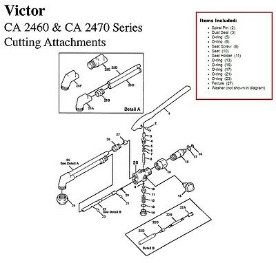 Victor CA2460 & CA2470 Cutting Torch Large Rebuild/Repair Parts Kit 0390-0057