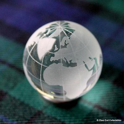 Large 30mm Frosted Glass Globe Marble with Stand -Stunning Detailed Planet Earth