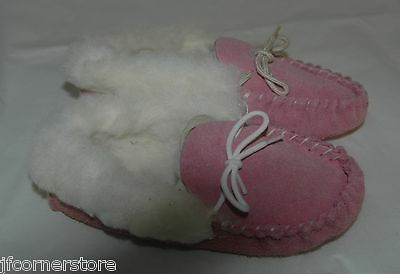 Fabulous Childrens Fur Lined Rubber Sole Slippers Infant Size 11 Clearance