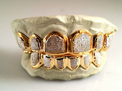 Custom 10K 14K Plated Gold Grillz Dust Bullet Punchout Style Silver Top & Bottom