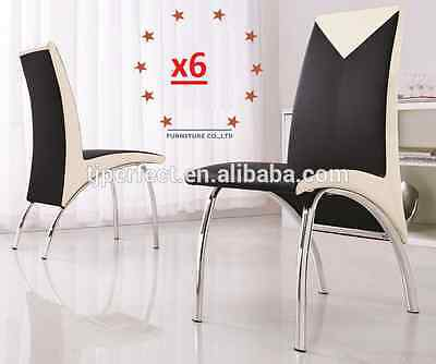 6 x NEW MODERN Design DINING TABLE CHAIR PU LEATHER CHAIRS  white & black trim