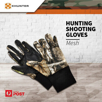 Xhunter Camo Mesh Gloves For Hunting Shooting~Breathable Antiskid Fits Size S-M