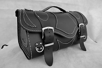 Motorcycle High Quality Leather Rear Bag Top Case Saddlebag Pannier Softail Dyna