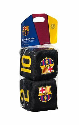 Barcelona FC Crest Badge Fuzzy Fluffy Furry Hanging Car Dice Official Product