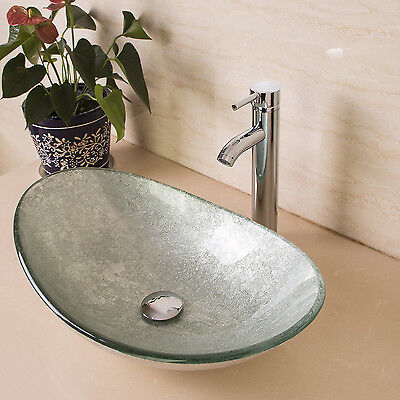 Bathroom Oval Tempered Glass Vessel Sink Bowl W/Chrome Faucetu0026Pop Up Drain  Combo