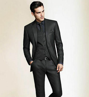 Black Slim Fit Men Groom Suit Tuxedos Formal Groomsmen Wedding suits Custom Made