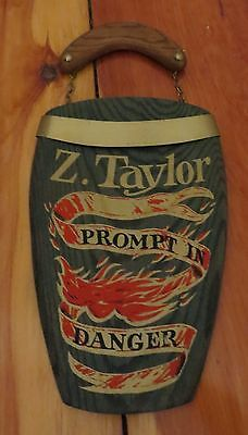 Z Taylor large wooden Fire Mark Plaque, / sign