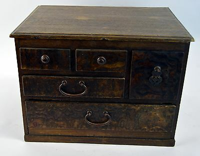 Antique Hand Made Meiji Kyacki Japanese Wooden Jewelry Miniature Cabinet Box