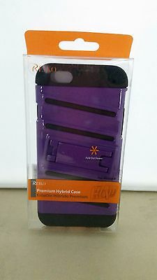 FISH BONE PATTERN HYBRID CASE for IPHONE6  BLACK PURPLE W/ HORIZONTAL KICKSTAND