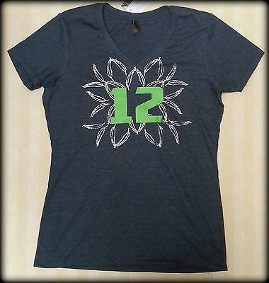 Ladies Large Metallic Feather Burst 12th Woman V-NeckTee Seahawks fans!