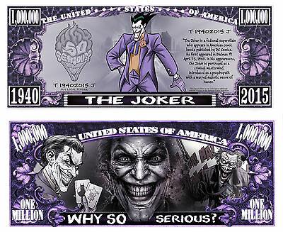 LE JOKER ! BILLET MILLION DOLLAR US! Collection Batman Super Heros Comics bd the