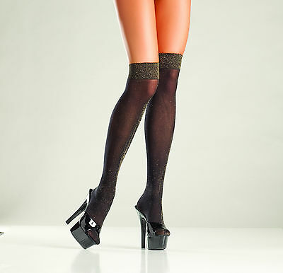 c0b880bdff8 sexy BE WICKED! opaque LUREX thigh KNEE high HIGHS hi STOCKINGS metallic  THREAD