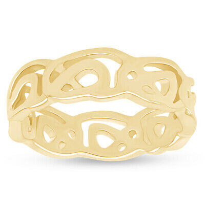 Women's 10k Solid Yellow Gold Celtic Wedding Band Trinity Knot Eternity Ring