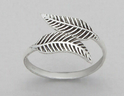 TJS 925 Sterling Silver Double Leaf Design Toe Ring Adjustable Body Jewellery