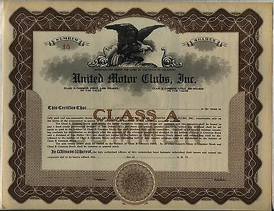 United Motor Clubs, Inc. Stock Certificate