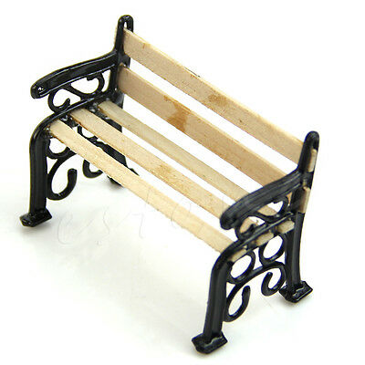 1:12 Wooden Bench Seat Black Dolls House Miniature Garden Ornament Furniture DIY