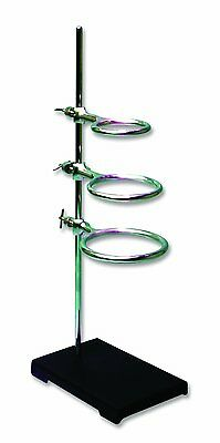 Lab Scientific Tool Support Stand Rod 3 Ring Steel Adjustable Clamp Mounting 5x8