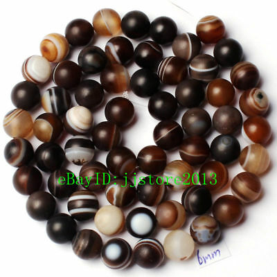 6mm Natural Frosted Banded Brown Agate Round Shape Gems Loose Beads Strand 15""