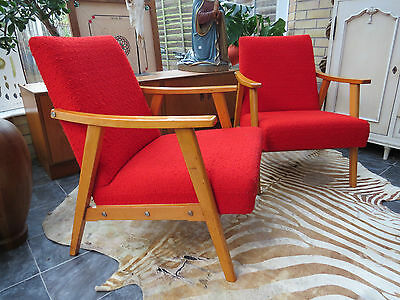 A Pair Of Red East German / Danish Style Cocktail Lounge Armchairs C1965