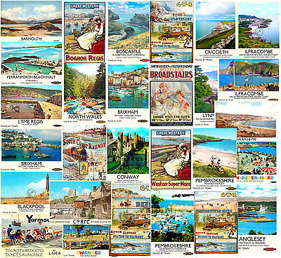 SEASIDE RAILWAY ADVERTISING POSTERS VINTAGE Style RETRO WALL ART Print A2 A3 A4