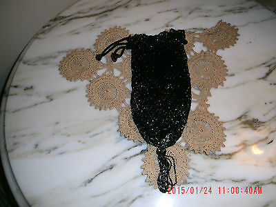 Vintage Antique Old Black  Carnial Glass Change Purse 1920's-1930's Charming