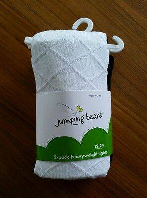 NEW Jumping Beans Infant Girls 12-24 MONTHS Tights BLACK WHITE 2-Pack   #1091015