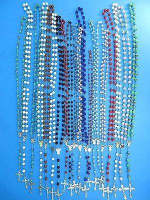 wholesale lot of 10 unisex jewelry rosary necklace with acrylic beads chain