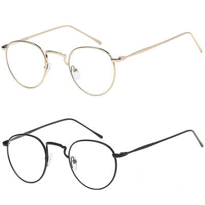 1366031608b New Vintage Style Clear Lens Round Glasses Gold Metal Frame Unisex  Eyeglasses A